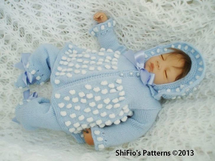 KP54 Bobble Jacket, Bonnet/Hat, Trousers/Pants & Booties Baby Knitting pattern #54 at Makerist - Image 1