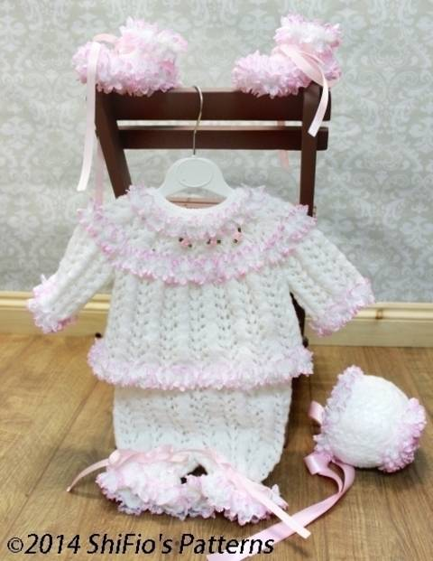 KP62 Angel's Grace Baby Top, Shorts, Booties & Bonnet, Lace Baby Knitting Pattern #62