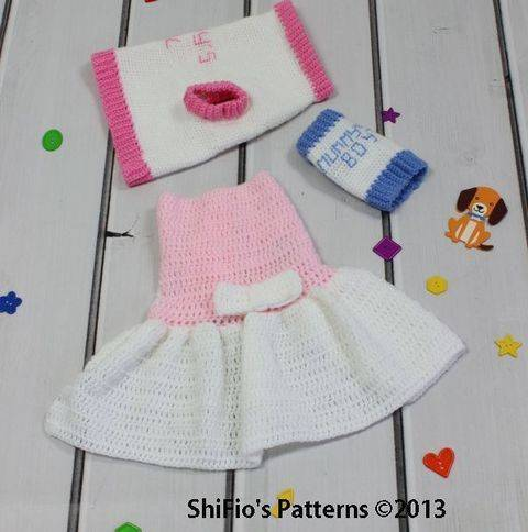 CP66 Dog Sweater & Dress in 4 sizes Crochet pattern #66 at Makerist