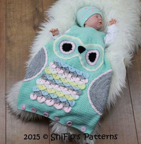 CP327 Owl Baby Sleeping Bag, sack in 3 Sizes Crochet Pattern #327 at Makerist