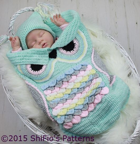 CP245  Owl Baby Cocoon, Papoose & Hat in 3 Sizes Crochet Pattern # 245 at Makerist - Image 1