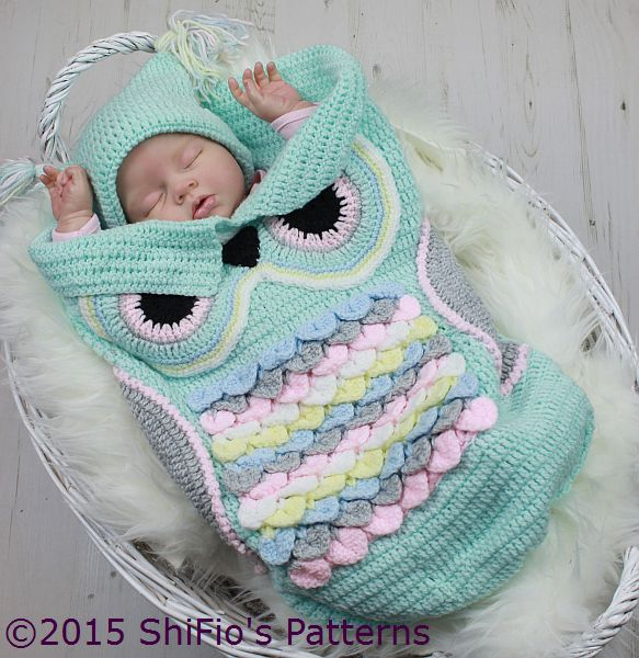CP245  Owl Baby Cocoon, Papoose & Hat in 3 Sizes Crochet Pattern # 245