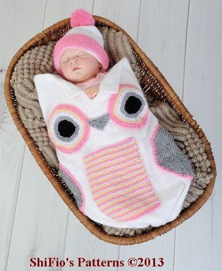 KP250  Baby Owl Cocoon, Papoose, Hat in 3 Sizes Knitting Pattern #250  at Makerist - Image 1