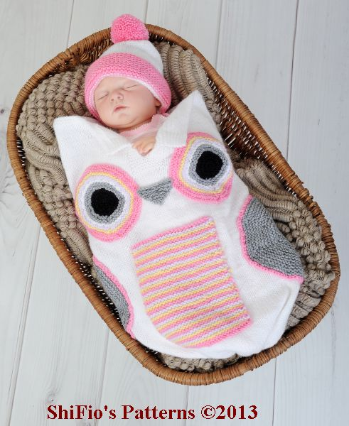 KP250  Baby Owl Cocoon, Papoose, Hat in 3 Sizes Knitting Pattern #250