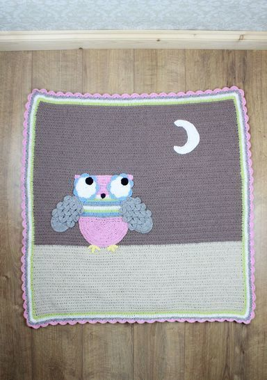 CP301  Hootie Tootie Baby Afghan owl Blanket with Crocodile st Crochet Pattern #301 at Makerist - Image 1