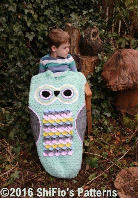 CP345 Owl Child Cocoon, Sleeping bag in 3 Sizes 1- 10 years #345 at Makerist