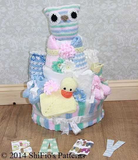 CP222 Baby Nappy Diaper Cake, Owl Toy, Bib, Booties, Bonnet, Sookie Crochet pattern #222 at Makerist - Image 1
