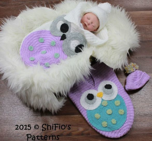 CP331 Owl Baby Cocoon, Papoose & Hat in 3 Sizes Crochet pattern # 331 at Makerist - Image 1