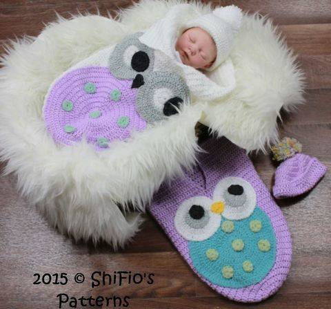 CP331 Owl Baby Cocoon, Papoose & Hat in 3 Sizes Crochet pattern # 331 at Makerist