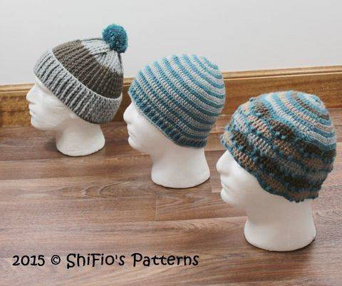 CP333  Highlander Striped, Ribbed, Mountain Mens Beanie Hat Crochet Pattern #333 at Makerist
