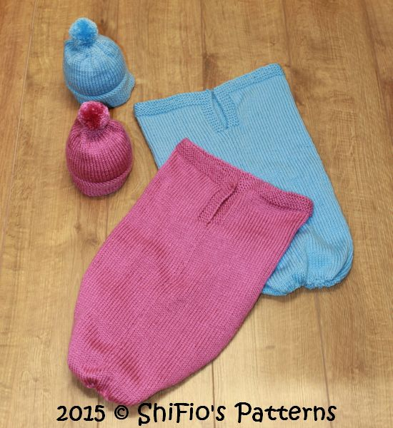 KP332 Baby Plain Cocoon, Papoose, Hat Knitting Pattern in 2 Sizes Knitting Pattern #332
