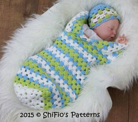 CP329 Granny st Baby Cocoon, Papoose & Hat in 3 Sizes  Crochet Pattern #329 at Makerist