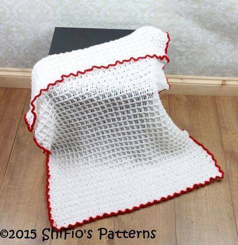 CP326 Waffle Stitch Baby Afghan Blanket Crochet Pattern #326 at Makerist