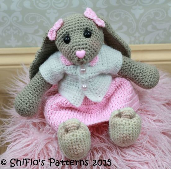CP325 Blossom Easter Bunny Toy Rabbit & Cardigan, skirt, Headband Crochet pattern #325 at Makerist - Image 1
