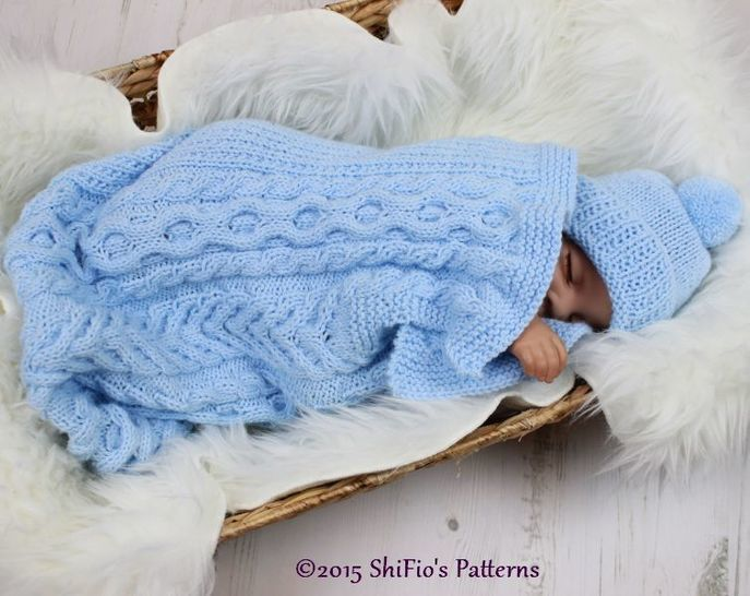 KP318 Cuddle Cable Cocoon, Papoose, Hat Knitting Pattern in 2 Sizes Baby Knitting Pattern #318 at Makerist - Image 1