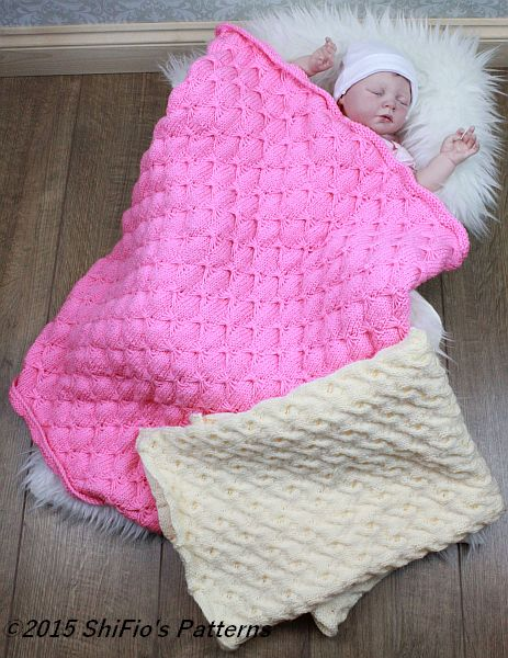 KP316 Baby Butterfly & Cable Stitch Blanket / Afghan Baby Knitting Pattern #316