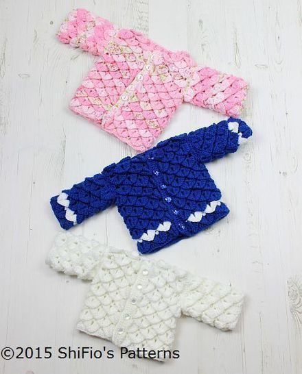 CP311 For Baby Crocodile Stitch Cardigan in 3 sizes Baby Crochet Pattern #311 at Makerist - Image 1