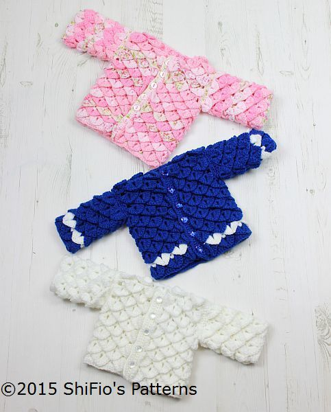 CP311 For Baby Crocodile Stitch Cardigan in 3 sizes Baby Crochet Pattern #311