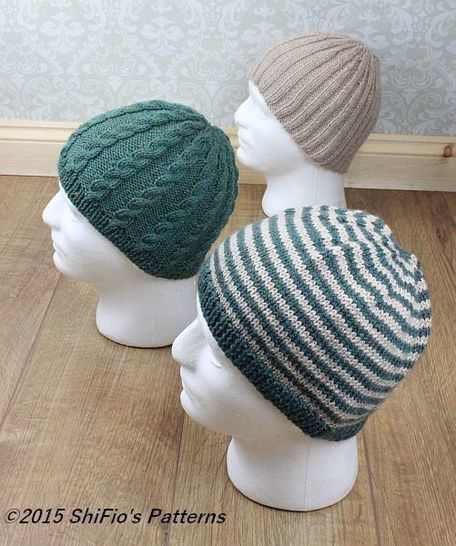 KP310 Mens Hat's Pattern, beanies, cable beanie, ribbed beanie, striped beanie, Knitting Pattern #310 at Makerist - Image 1