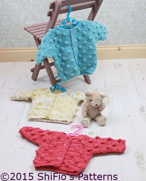 CP309 Baby Bobble Cardigan in 3 Sizes Baby Crochet Pattern #309