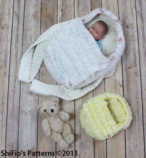 CP77 Doll, Itty Bitty, Carry Cot Moses Basket Crochet Pattern #77 at Makerist
