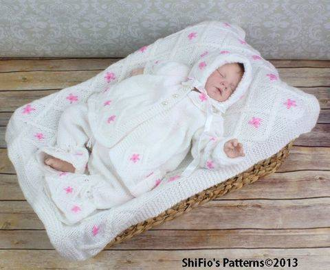 KP85 Lily Flower Matinee Jacket, Trousers / Pants, Bonnet & Blanket Afghan Knitting Pattern #85 at Makerist
