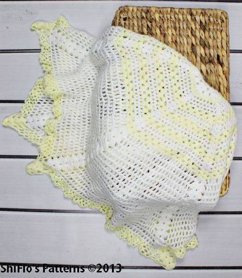 CP97 Cascade Christening Shawl, Blanket, Afghan Crochet Pattern #97 at Makerist