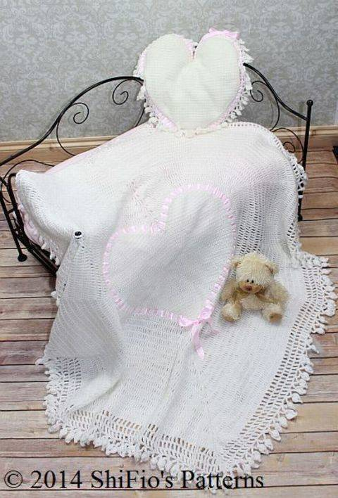 CP98 Heart Christening Shawl & Cushion Crochet pattern #98 at Makerist