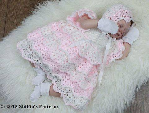 CP100 Full of Lace Baby Dress & Bonnet in 5 Sizes Baby Crochet Pattern #100