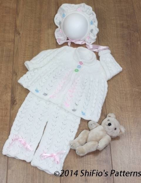 KP101 Beaded Babe Baby Jacket, Trousers/Pants & Bonnet Knitting Pattern #101