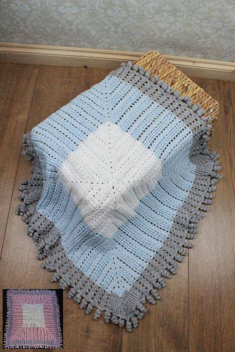 CP103 Curly Edged Blanket, Afghan, Pram, Cot, Crib Crochet Pattern #103 at Makerist