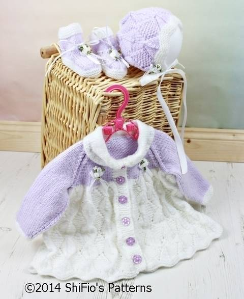 KP110 Diamond Baby Matinee Jacket, Bonnet & Booties Baby Knitting Pattern #110