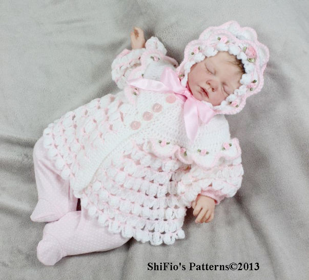 CP111 Spring Rose Matinee Jacket & Hat Crochet Pattern #111 at Makerist - Image 1