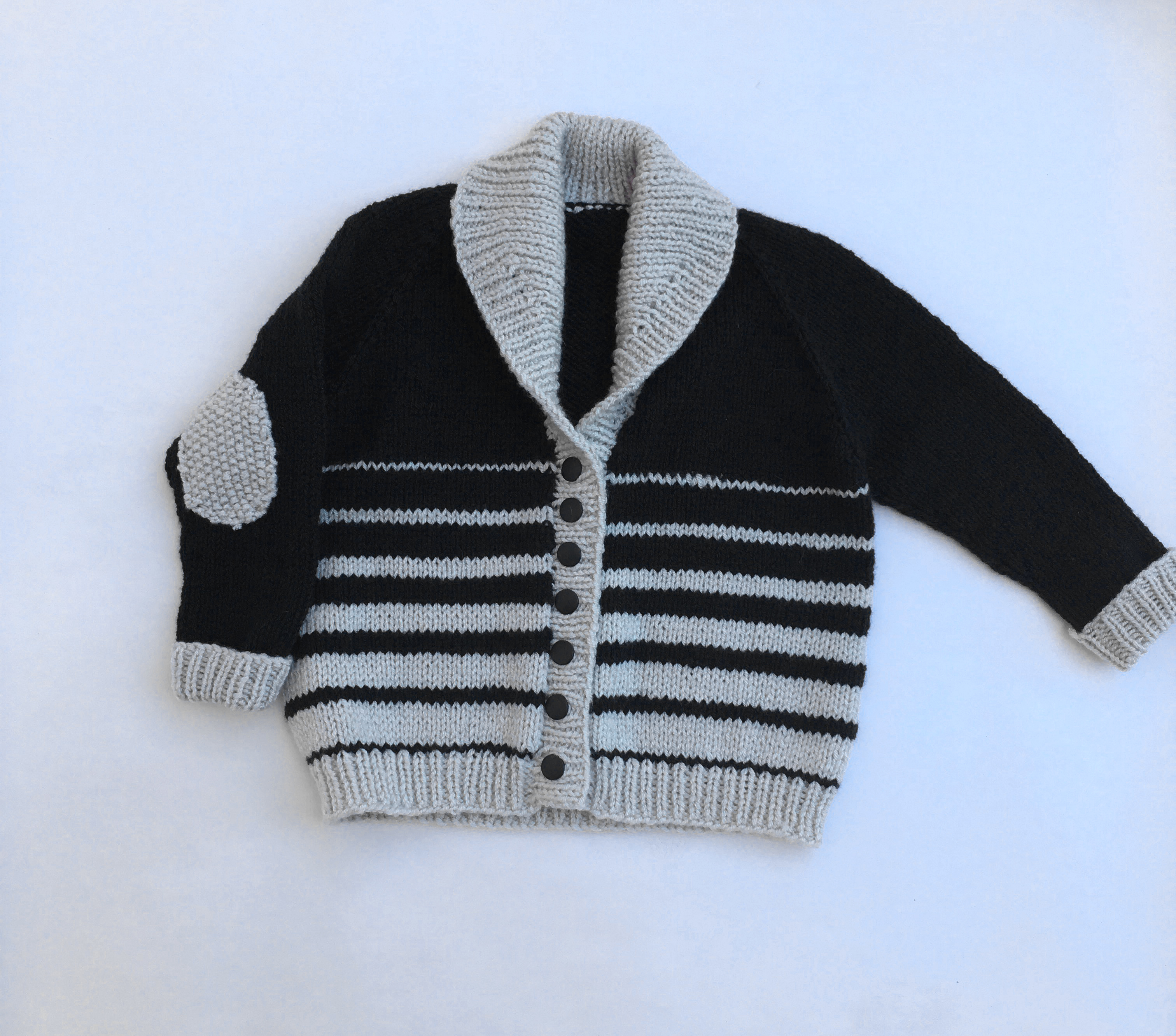 Black & Tan Shawl Baby Cardigan
