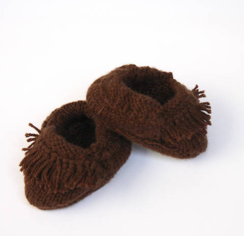 Knitted Fringed Moccasins