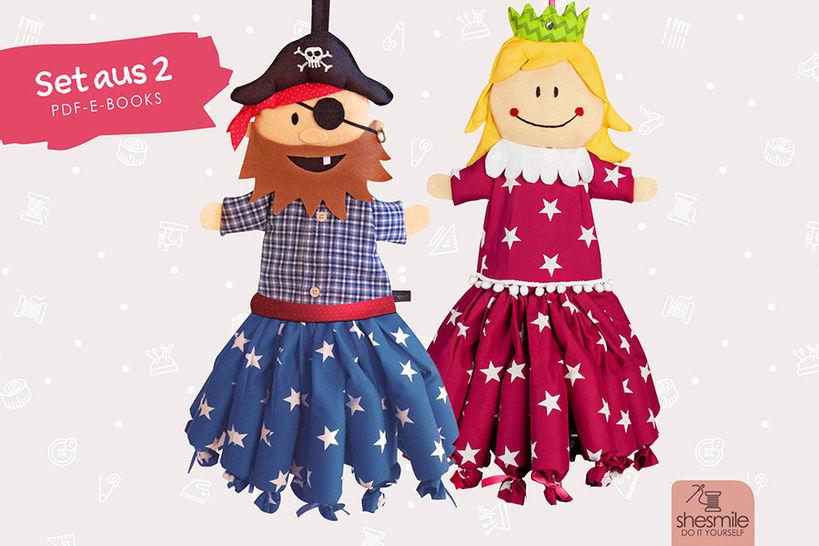 """Adventskalender-Set """"Pirat & Prinzessin"""" (Nähanleitung und Schnittmuster) bei Makerist - Bild 1"""
