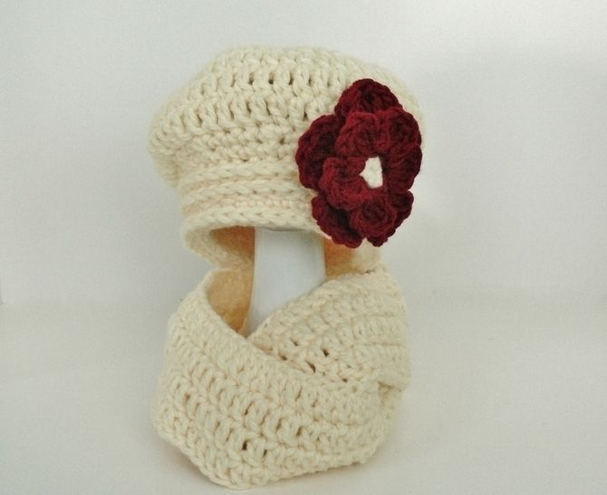 Chunky Slouchy Hat and Infinity Scarf - Girls to Ladies Large at Makerist - Image 1