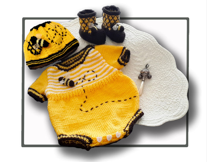 Honey Bee Baby Onesie Romper Set at Makerist - Image 1