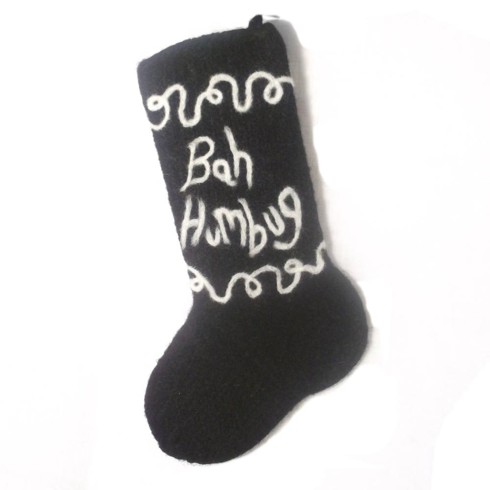 Bah Humbug Christmas stocking knitting pattern