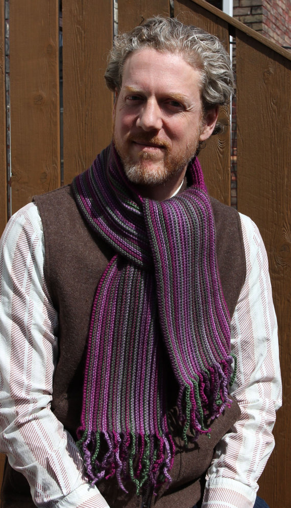 Crochet Scarf Pattern for Men -- Reversible (Purple-Green Meadow Scarf)