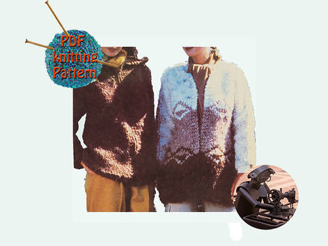 Women hooded jacket and cardigan  - Size small medium & large - PDF Vintage knitting pattern