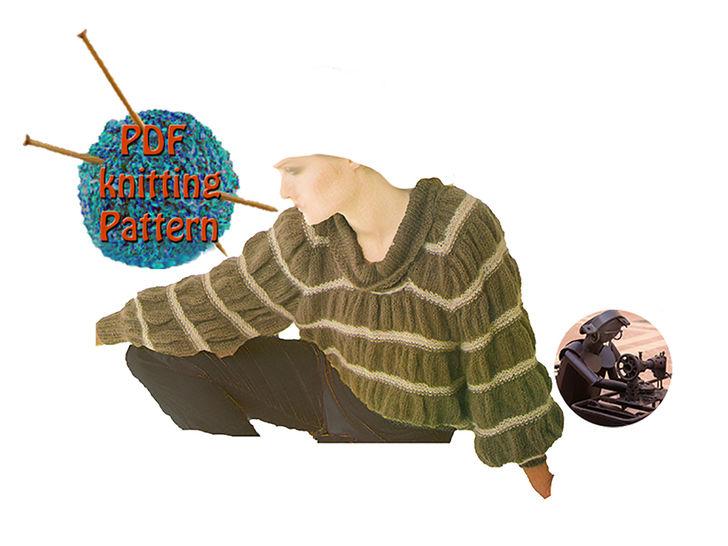 Women sweater gathered stripes - Size 32 to 36 - PDF Vintage knitting pattern    at Makerist - Image 1