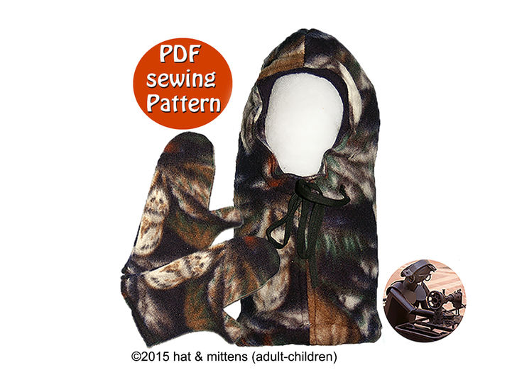 Hat and mittens with fleece polar fleece or wool fluffy for adults & children - PDF sewing pattern - French & English  at Makerist - Image 1