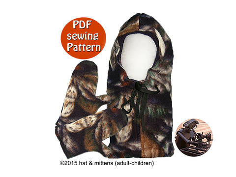 Hat and mittens with fleece polar fleece or wool fluffy for adults & children - PDF sewing pattern - French & English