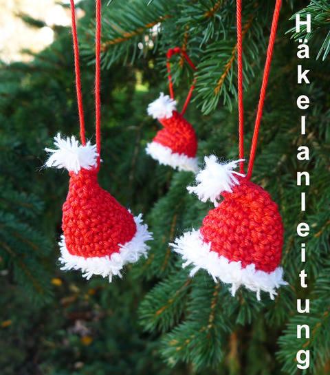 Häkelanleitung Weihnachtsmannmütze für den Christbaum