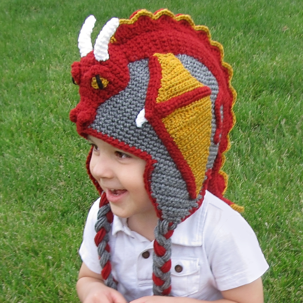 Chapeau bonnet dragon - crochet