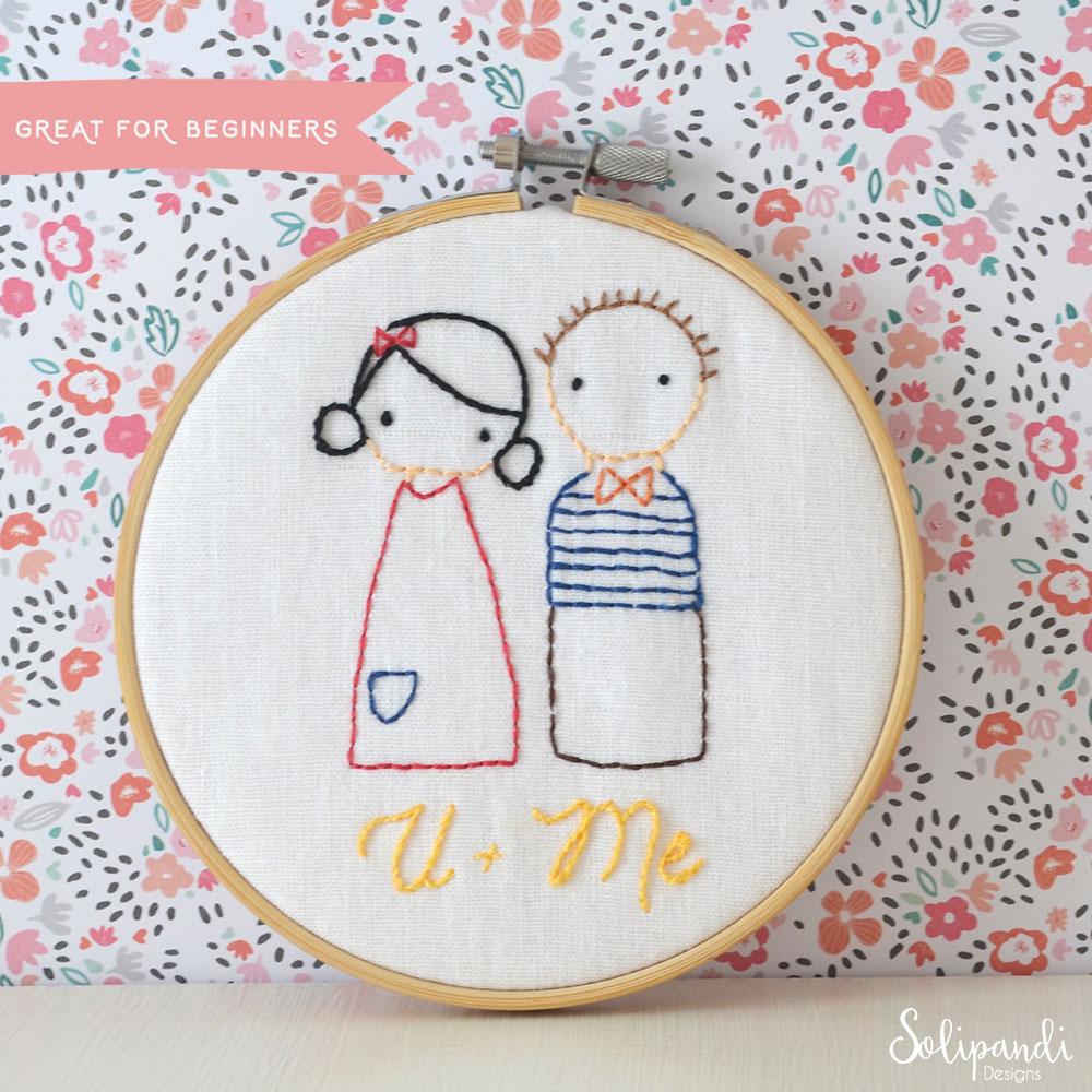 U + Me sweet couple, hand embroidery PDF pattern & instructions (en)