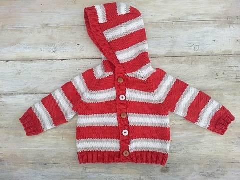 Kids Striped Raglan Sweater, Cardigan, Optional Hood , 6 Sizes, Knitting pattern (en) bei Makerist
