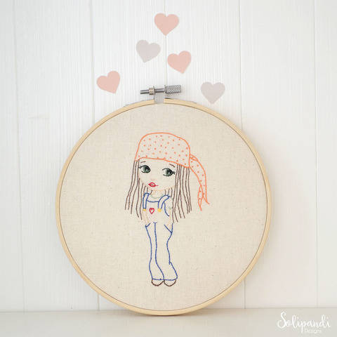 Hippie Girl in Dungarees with Love Heart, Hand Embroidery PDF Pattern (en) bei Makerist