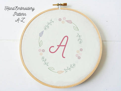 Bundle A-Z Letters in Floral Frame, hand embroidery PDF pattern & instructions (en) bei Makerist